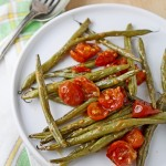 Miso-roasted French beans and cherry tomatoes