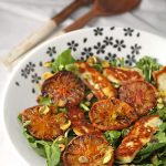 Caramelised blood orange, halloumi and pistachio salad
