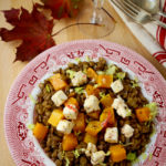 Lentils with roasted pumpkin and chilli-marinated feta