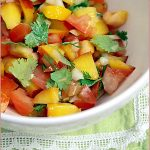Nectarine and coriander leaf salsa with seared tuna steaks