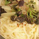 Purple sprouting broccoli, anchovy and pecorino pasta
