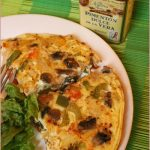 Three pepper and mushroom frittata
