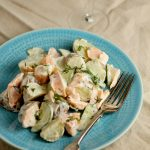 Potato, salmon and cucumber salad