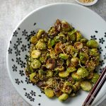Roasted Brussels sprouts with sesame and ginger