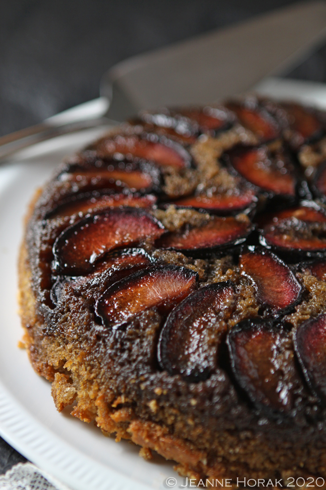 Plum upside down cake close up