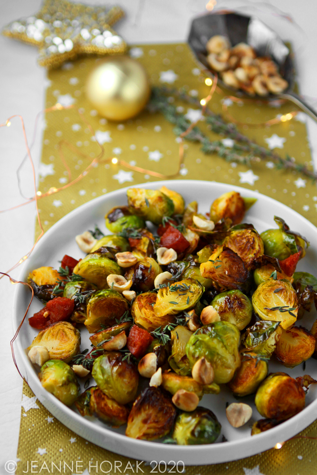 Brussels sprouts with chorizo & hazelnuts