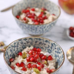 bowls of pistachio pomegranate bircher muesli