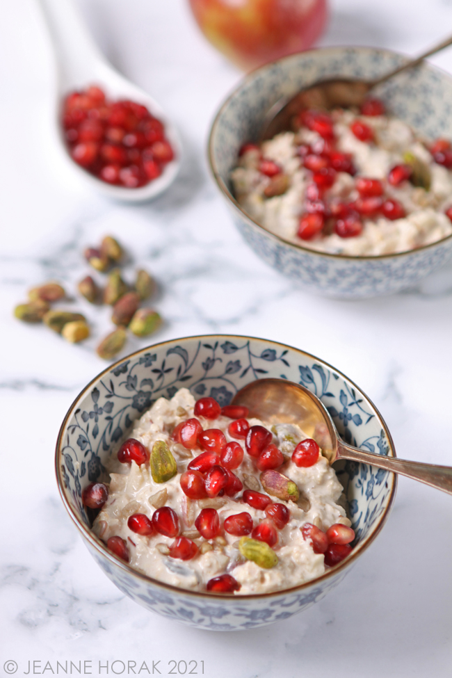 Bowl of Bircher muesli with pomegranate