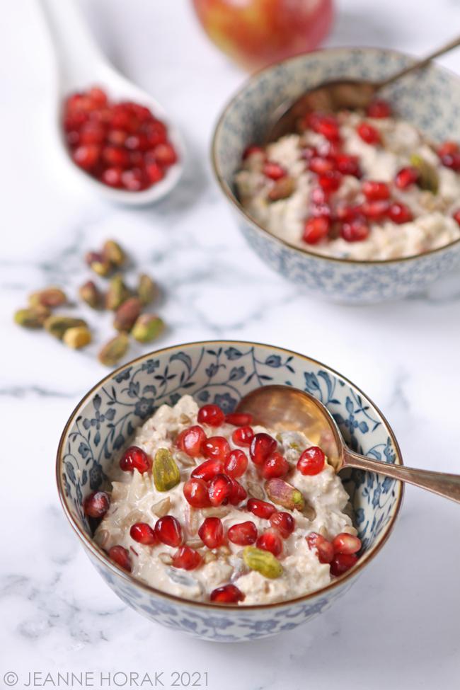 Bowl of Bircher muesli with pomegranate