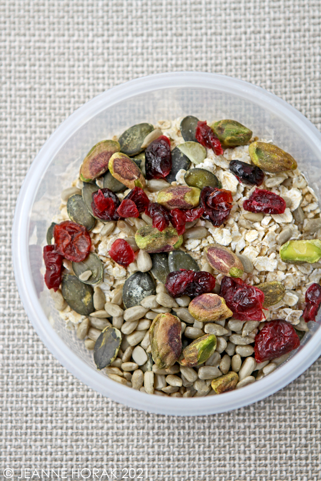 Rolled oats with seeds, nuts and cranberries