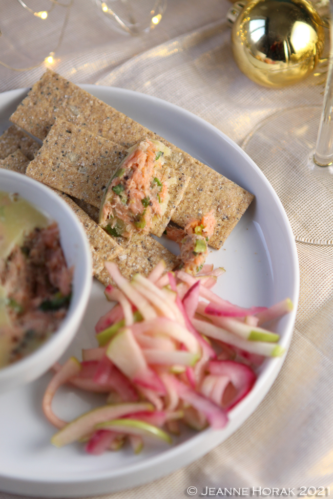 Potted smoked salmon with apple red onion slaw